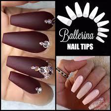 50 x ballerina coffin white half cover long nail tips fast ship