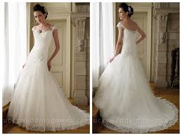dropped waist wedding dress cap sleeves lace tulle a line wedding dress with asymmetrical drop