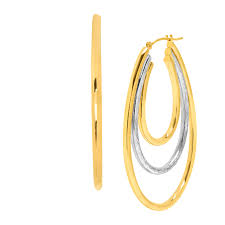 oval hoop earrings two tone oval hoop earrings in 14k gold bonded sterling