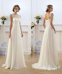 chiffon wedding dress lace chiffon empire wedding dresses 2017 sheer neck capped sleeve