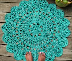 Outdoor Round Rug by Hand Crafted Turquoise Patio Porch Cord Crochet Rug In 35