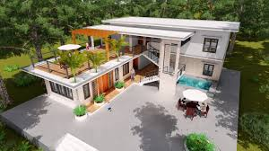 sketchup model modern vila design 15 lumion render sam architect