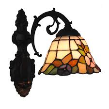 Stained Glass Wall Sconce Classic Flowers Pattern Wall Light E26 E27 Modern Retro