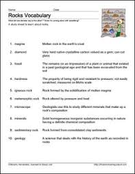 free rocks and minerals worksheets rocks minerals vocabulary
