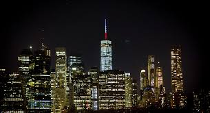 world trade center lights world trade center lights up in red white and blue to honor nyc