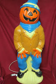 Vintage Empire 34 Halloween Lighted Blow Mold Scarecrow Pumpkin