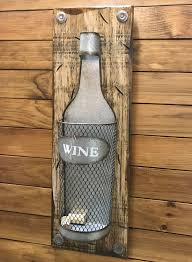 wine cork holder bottle shapped metal reclaimed wall home decor