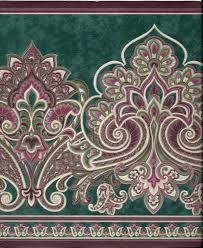 Wallpaper Border Designs Victorian Paisley Green And Burgundy Wallpaper Border Ebay