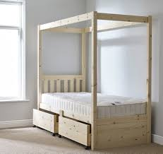 Solid Pine Bed Frame 3ft Single Storage Four Poster Solid Pine Bed Frame