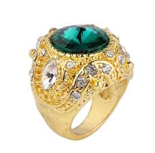 wedding ring brand 2018 blue green big gemstone rings luxury gold plating crown