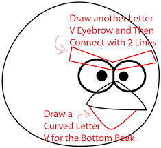 draw red angry bird angry birds games easy steps
