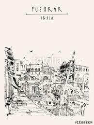 pushkar rajasthan india drawing ghats and palaces on holy lake
