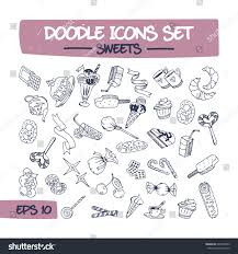 doodle presentations doodle icons set pastries sketch stock vector 648359593