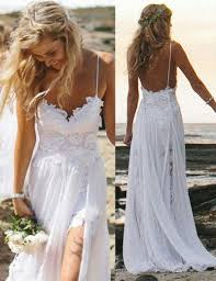 a line spaghetti straps lace backless long beach wedding dress