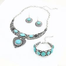 turquoise stone necklace set images Silver heart blue natural stone choker jewellery set charmloop jpg