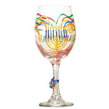 hanukkah chanukah menorah wine glass custom wine glasses