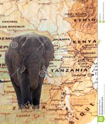 Map Of Tanzania Elephant Overlying A Vintage Map Of Tanzania Stock Photo Image