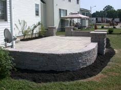 Backyard Cement Patio Ideas Concrete Patio On Slope Concrete Patio With Flower Bed Planter
