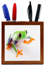 Frog Desk Accessories Frog Up Wood Tile Pen Holder Contemporary Desk