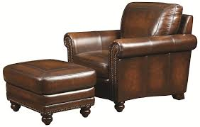 Leather Armchair With Ottoman Bassett Hamilton Traditional Leather Chair And Ottoman With Nail
