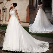 vintage 2016 autumn winter sheer neck a line wedding dresses white