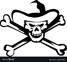 cowboy pirate skull cross bones retro royalty free vector