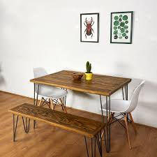 reclaimed pallet dining table and bench hairpin legs by sunnyside