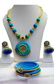 green necklace set images Buy silk thread peacock blue and green necklace set online from ts jpeg