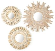 Circle Wall Mirrors Solstice Set Of 3 Hand Carved Round Wall Mirrors With White Washed