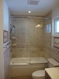 Bathtubs And Showers For Small Spaces Bathroom Good Looking Brown Tiled Bath Surround For Small