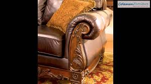 Old World Living Room Furniture by North Shore Old World Brown Wood Leather Fabric 3pc Living Room