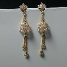 latkan earrings buy designer 22kt gold earrings with chain latkan from