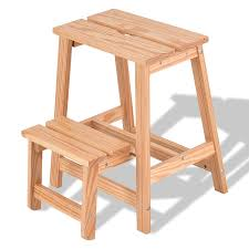 2 tier solid wood folding step stool kitchen u0026 dining benches