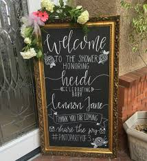 baby shower chalkboard lettered welcome chalkboard for a baby shower https www