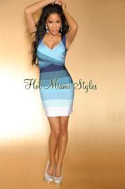 hms exclusive blue ombre key hole back luxe bandage dress