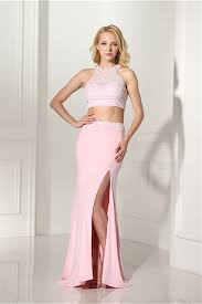 what to wear with a light pink dress sheath open back two piece light pink jersey beaded prom dress with slit