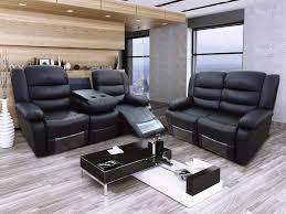 Luxury Leather Sofa Set Roman 3 U0026 2 Black Bonded Leather Luxury Recliner Sofa Set With