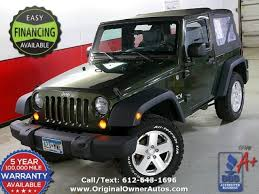 2007 green jeep wrangler 2007 jeep wrangler x 2 owners 94k 6 speed 2 dr green
