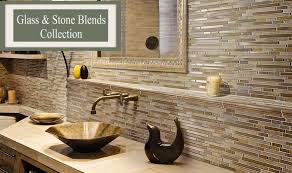 Glass And Stone Kitchen Backsplash Tile Bathroom Tile - Linear tile backsplash
