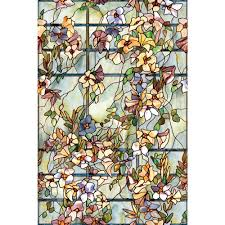 artscape 36 in x 72 in blue chip glass large decorative window