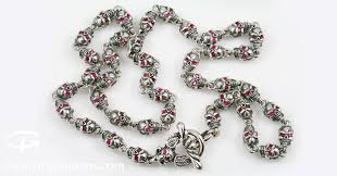 red chain link necklace images Red ruby eyed skull link chain silver necklace nk 120 jpg