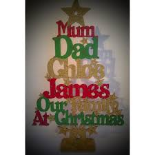 family name personalised wooden christmas tree