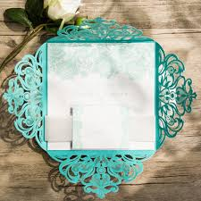 teal wedding teal lace design laser cut wedding invitations ewws112 as low as