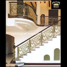 china luxury indoor stairs aluminum brass railing for villa