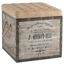 Country Ottomans Wooden Ottoman Storage Box Country Vintage Crate Burlap