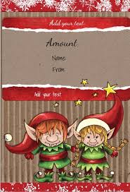 free printable gift certificate template with two cute elves