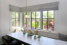 Roman Shades Black - linen roman shades dining room farmhouse with banquette seating