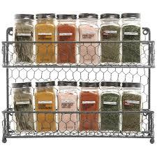 amazon com mygift rustic gray dual tier wire spice rack jars
