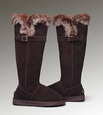 womens ugg boots fox fur ugg slippers ansley chocolate ugg fox fur boots 1852
