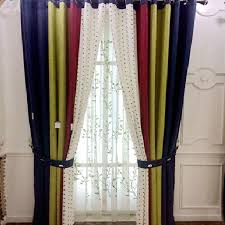 Navy And Green Curtains Rustic Cotton Linen Navy Green Curtains